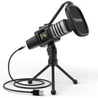Micrófono USB utilizado para grabar un podcast.