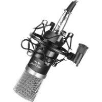 Micrófono de estudio barato, pero excelente relación calidad-precio. Es de color negro.
