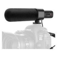 microfono de cañon que aparece junto a una camara para grabar videos con sonido