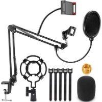 Soporte para micrófonos. El objetivo es grabar tu voz sin tener que preocuparte del soporte y apoyo del micrófono.. Excelente relación calidad-precio.